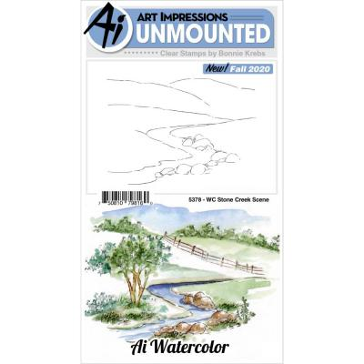 Art Impressions Watercolor Clear Stamp - Stone Creek Scene