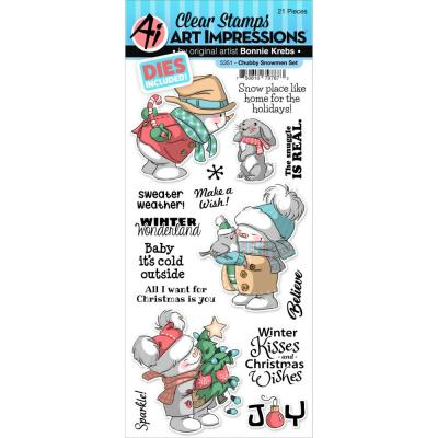Art Impressions Christmas Clear Stamp & Die Set - Chubby Snowmen