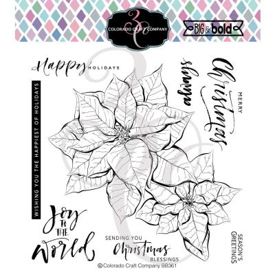 Colorado Craft Company Clear Stamps - Poinsettia Blessings