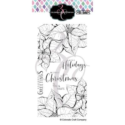 Colorado Craft Company Clear Stamps - Slimline Poinsettias