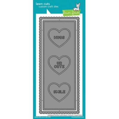 Lawn Fawn Lawn Cuts - Scalloped Slimline With Hearts: Portrait