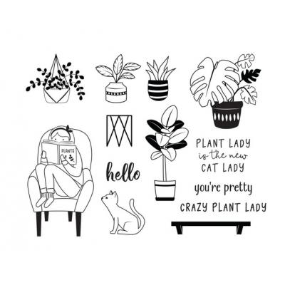 Fun Stampers Journey Clear Stamps - Plant Lady