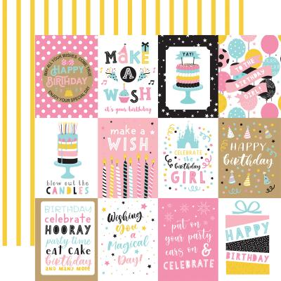 Echo Park Magical Birthday Girl Designpapier - 3 x 4 Journaling Cards