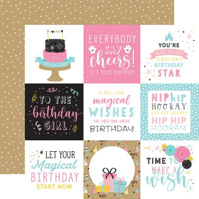 Echo Park Magical Birthday Girl Designpapier - 4 x 4 Journaling Cards