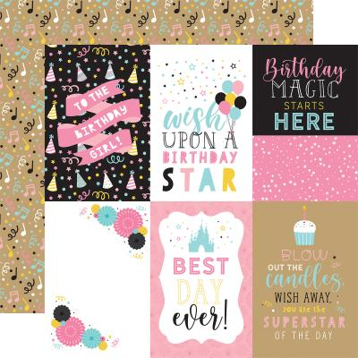 Echo Park Magical Birthday Girl Designpapier - 4 x 6 Journaling Cards