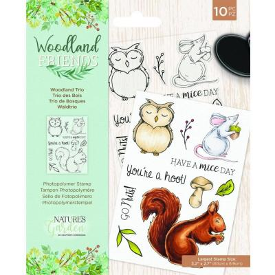 Crafter's Companion Woodland Friends Clear Stamps - Woodland Trio