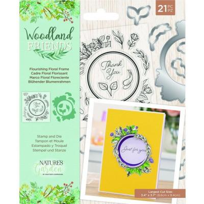 Crafter's Companion Woodland Friends Stamp & Die - Flourishing Floral Frame