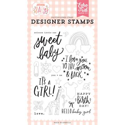 Echo Park Welcome Baby Girl Clear Stamps - Welcome Little One