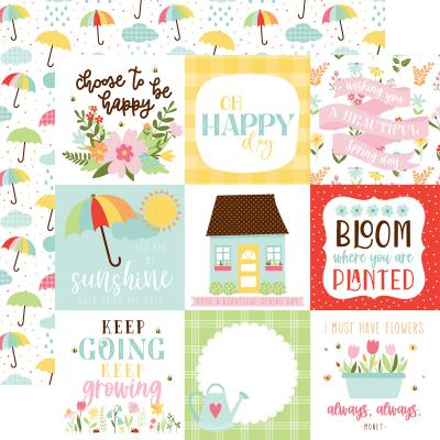 Echo Park Welcome Spring Designpapier - 4x4 Journaling Cards