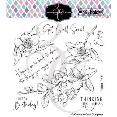 Colorado Craft Company Clear Stamps - Thinking Of You Magnolias Big & Bold