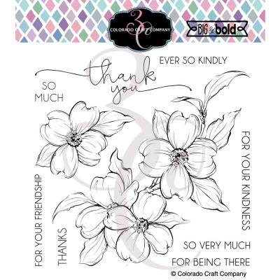 Colorado Craft Company Clear Stamps - Thank You Dogwood Big & Bold