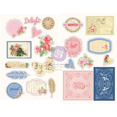 Prima Marketing Julie Nutting Sticker - Frayed Denim Chipboard Stickers