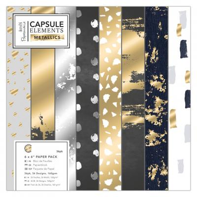 Capsule Collection - Elements Metallic - Papierblock, 36 Blatt, 6x6''