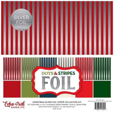 Echo Park Christmas Dots & Stripes Silber Foliert 12 x 12