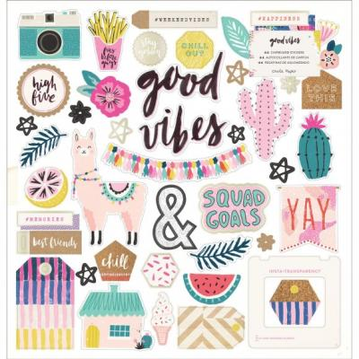 Crate Paper Good Vibes Chipboard Sticker gold foil 44 Stück