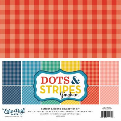 Echo Park Summer Gingham Dots & Stripes 12x12 inch