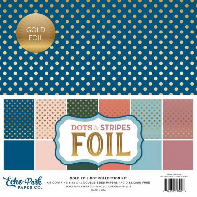 Echo Park Spring Gold Foil Dots & Stripes 12x12 inch