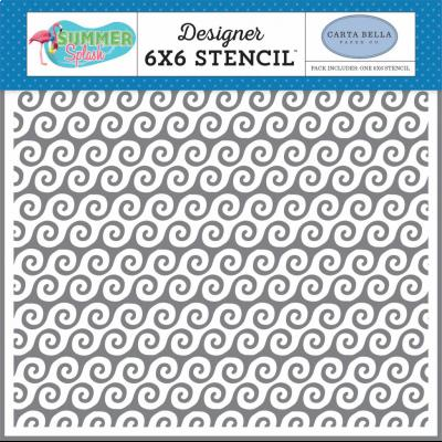 Carta Bella Summer Splash Stencil - Beach Waves