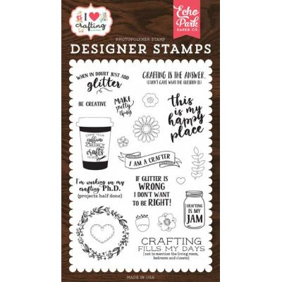 Echo Park Clear Stamps I Heart Crafting - Just Add Glitter