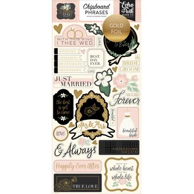 Echo Park Wedding Day - Chipboard Phrases