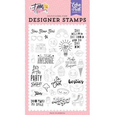 50102833 Echo Park Teen Spirit Girl Clear Stamps -  You Glow Girl