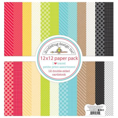 Doodlebug I Love Travel Designpapier - Petite Print Assortment Pack