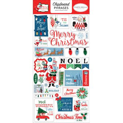Carta Bella Merry Christmas Die Cuts - Chipboard Phrases