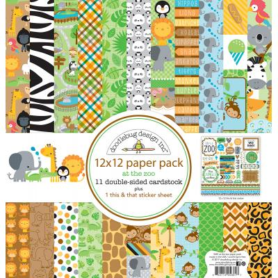 Doodlebug At the Zoo Designpapier - Paper Pack