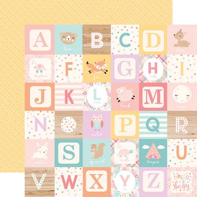 Echo Park Hello Baby Girl Designpapier - Girl Alphabet Blocks