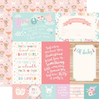 Echo Park Hello Baby Girl Designpapier - 4x6 Journaling Cards