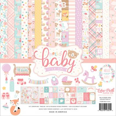 Echo Park Hello Baby Girl Designpapier - Collection Kit