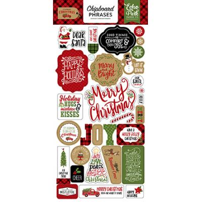 Echo Park Celebrate Christmas Sticker - Chipboard Phrases