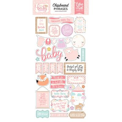 Echo Park Hello Baby Girl - Chipboard Phrases